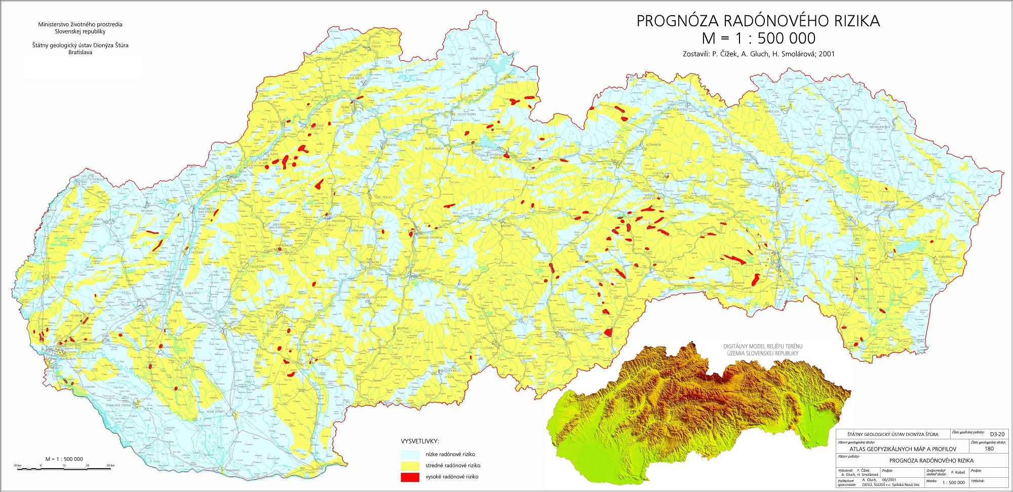 Radón mapa
